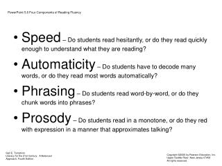 PowerPoint 5.6 Four Components of Reading Fluency