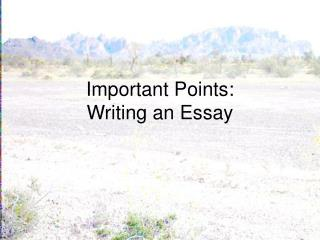 Important Points: Writing an Essay