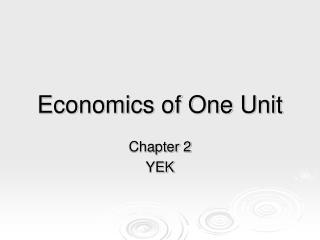 Economics of One Unit
