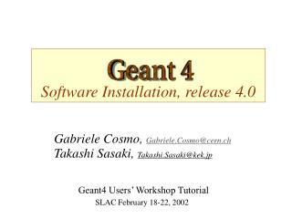 Software Installation, release 4.0