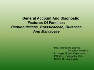 General Account And Diagnostic Features Of Families:
