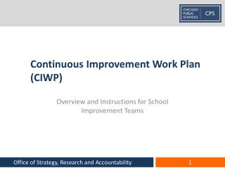 Continuous Improvement Work Plan CIWP