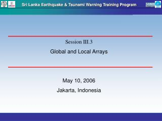 Sri Lanka Earthquake & Tsunami Warning Training Program