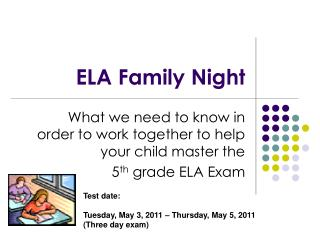 ELA Family Night