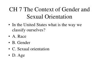 CH 7 The Context of Gender and Sexual Orientation