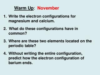 Warm Up :   November