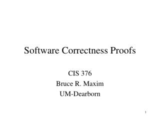 Software Correctness Proofs