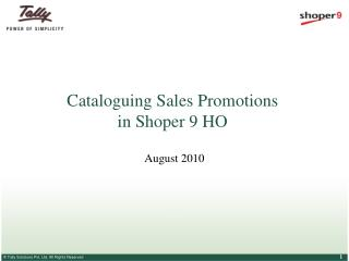 Cataloguing Sales Promotions  in Shoper 9 HO