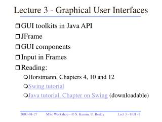 Lecture 3 - Graphical User Interfaces