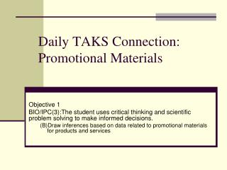 Daily TAKS Connection: Promotional Materials