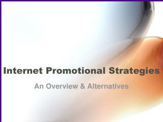 Internet Promotional Strategies