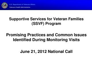 Supportive Services for Veteran Families (SSVF) Program