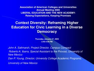 Context Diversity: Reframing Higher Education for Civic Learning in a Diverse Democracy