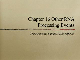 Chapter 16 Other RNA Processing Events