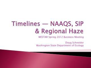 Timelines — NAAQS, SIP & Regional Haze