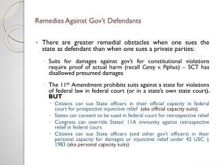 Remedies Against Gov't Defendants
