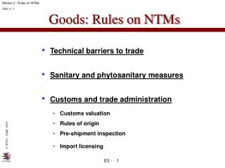 Goods: Rules on NTMs
