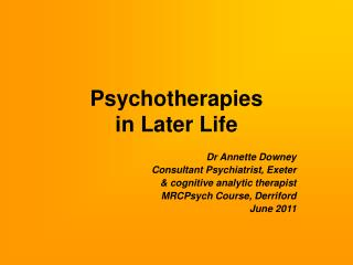 Psychotherapies in Later Life
