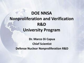 DOE NNSA Nonproliferation and Verification R&D  University Program