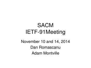 SACM IETF-91Meeting