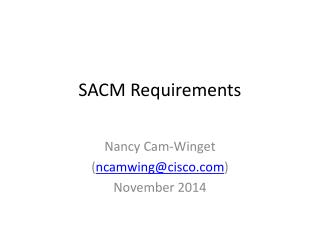 SACM  Requirements