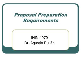 Proposal Preparation Requirements
