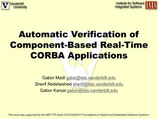 Automatic Verification of Component-Based Real-Time CORBA Applications