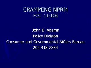 CRAMMING NPRM FCC	 11-106