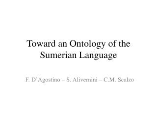 Toward an Ontology of the Sumerian Language