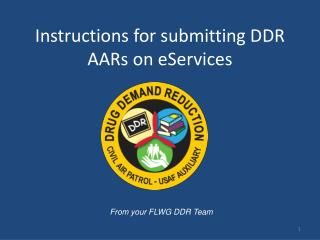 Instructions for submitting DDR AARs on eServices