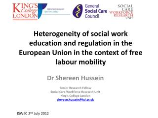 Dr  Shereen Hussein Senior Research Fellow Social Care Workforce Research Unit