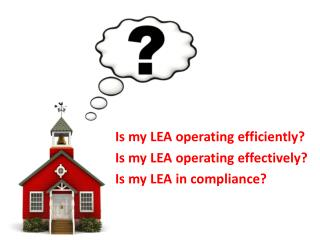 Is my LEA operating  efficiently? Is my LEA operating  effectively? Is my LEA in compliance?