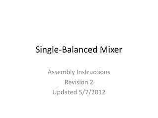 Single-Balanced Mixer