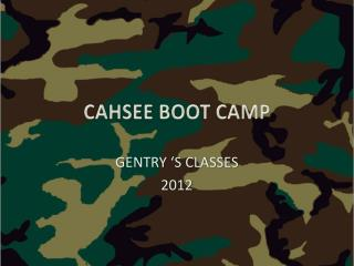 CAHSEE BOOT CAMP