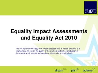 Equality Impact Assessments and Equality Act 2010