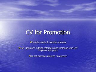 CV for Promotion