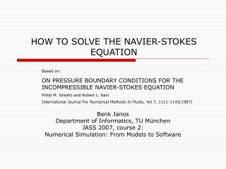 HOW TO SOLVE THE NAVIER-STOKES EQUATION