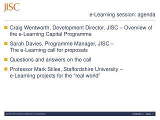 e-Learning session: agenda