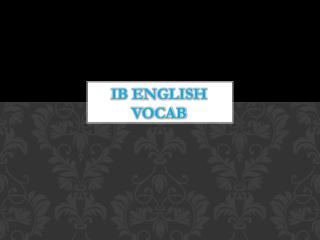 IB English Vocab