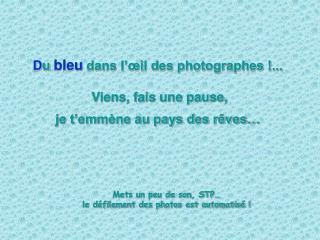 D u bleu dans l��il des photographes !...  Viens, fais une pause, je t�emm�ne au pays des r�ves�