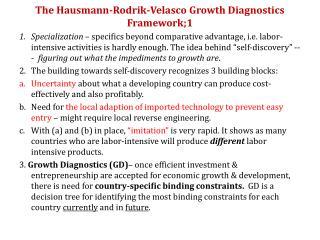 The Hausmann-Rodrik-Velasco Growth Diagnostics Framework;1