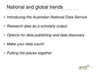 Introducing the Australian National Data Service Research data as a scholarly output