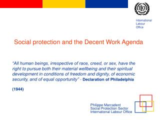 Philippe Marcadent Social Protection Sector   International Labour Office