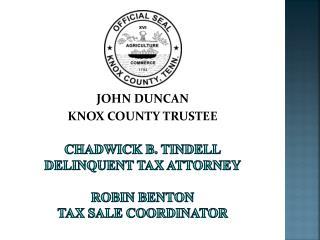 Chadwick b.  tindell delinquent tax attorney robin  benton tax sale coordinator