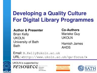 Developing a Quality Culture  For Digital Library Programmes