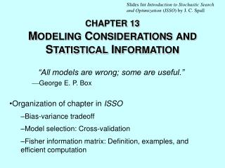 CHAPTER 13 M ODELING  C ONSIDERATIONS AND  S TATISTICAL  I NFORMATION