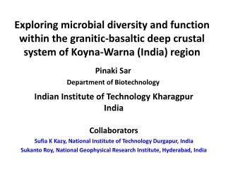 Pinaki Sar Department of Biotechnology