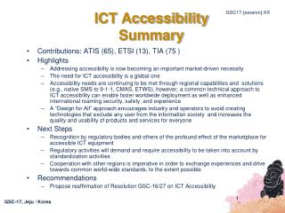 ICT Accessibility Summary