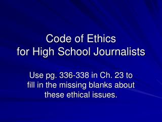 Code of Ethics for High School Journalists