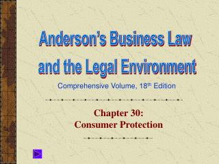 Chapter 30:  Consumer Protection